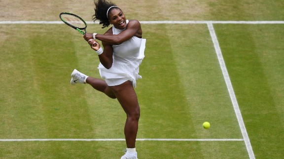 Williams plays a backhand during her successful quest for a 22nd grand slam title.