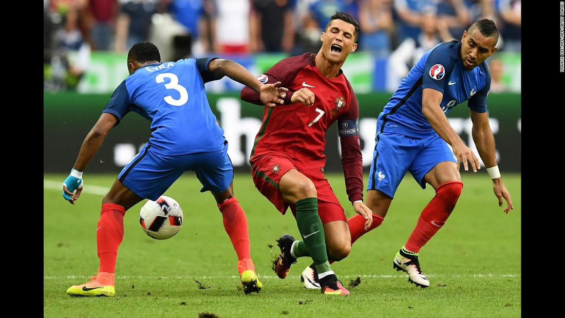 It was a collision with France's Dimitri Payet which led to Ronaldo&