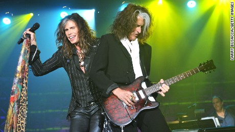 Steven Tyler and Joe Perry of Aerosmith perform together in 2013 in New York.