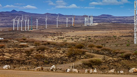 In this file photo taken in 2016 wind turbines of the Lake Turkana Wind Power project (LTWP) are seen in Loiyangalani district, Marsabit County, northern Kenya.