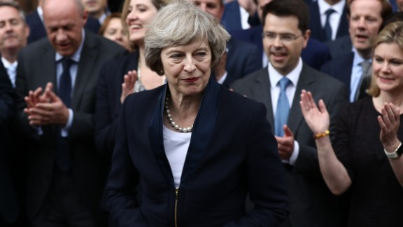 Theresa May accepts the leadership of the Conservative Party in 2016.