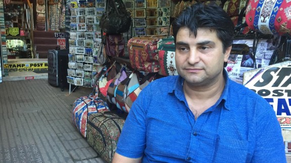 """Tourists were already nervous about visiting Turkey after earlier attacks this year. Shop owner Ahmet says trade has slumped in recent months. """"I used to have two shops but I had to close one, and now this is all I have. I've lost more than 90% of my business,"""" he told CNN."""