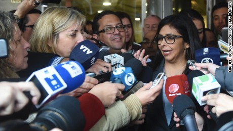 Venezuelan Minister of Foreign Affairs Delcy Rodriguez (C) speaks to the press as she leaves the Ministry of Foreign Affairs building in Montevideo on July 11, 2016.  The Mercosur postponed the transfer of the pro tempore presidency of the bloc -now held by Uruguay- to Venezuela, official sorces informed.   / AFP / MIGUEL ROJO        (Photo credit should read MIGUEL ROJO/AFP/Getty Images)