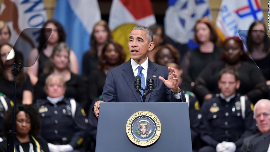 "U.S. President Barack Obama speaks during <a href=""http://www.cnn.com/2016/07/12/us/dallas-police-shooting-officers-memorial/index.html"" target=""_blank"">an interfaith memorial service</a> for the victims of the Dallas police shooting on Tuesday, July 12. Obama sought to unify the country during the somber memorial in Dallas for the five police officers slain in a sniper ambush during what had been a peaceful protest. The incident occurred amid a tragic week for the nation that saw Alton Sterling in Louisiana and Philando Castile in Minnesota killed during encounters with police."