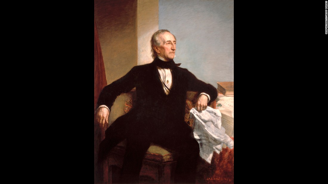 "The sidekick in the slogan ""Tippecanoe and Tyler Too,"" Tyler was vice president for just a matter of weeks before the death of President William Henry Harrison. Critics of his subsequent presidency called him ""His Accidency."""