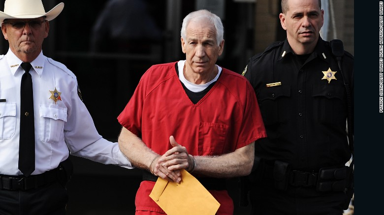 Jerry Sandusky in jumpsuit