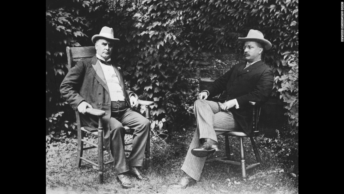 """I would a great deal rather be anything, say professor of history, than vice president,"" Roosevelt said. The former New York governor, seen at right with President William McKinley, ended up serving just six months as vice president, assuming the presidency after McKinley was assassinated. Roosevelt was the youngest President in America's history. He would become known as a trust buster and conservationist, setting aside more than 200 million acres across the country as public lands for national forests and wildlife refuges."