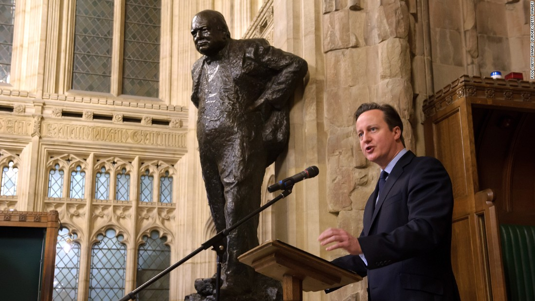 Cameron speaks at a memorial service for Sir Winston Churchill in January 2015, commemorating the 50th Anniversary of his state funeral.
