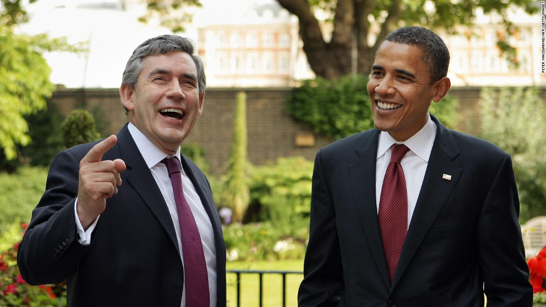 Then-U.S. Sen. Barack Obama chats with Gordon Brown at 10 Downing Street in 2008.
