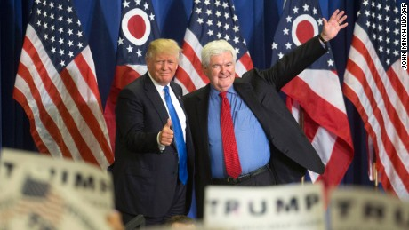 Republican presidential candidate Donald Trump, left, and former House Speaker Newt Gingrich, right, acknowledge the crowd during a campaign rally at the Sharonville Convention Center, Wednesday, July 6, 2016, in Cincinnati. (AP Photo/John Minchillo)