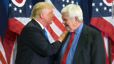 Times Newt Gingrich went off-message when talking Trump
