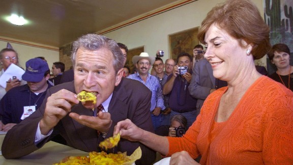 """George W. Bush, the 43rd president, choked while <a href=""""http://edition.cnn.com/2002/ALLPOLITICS/01/13/bush.fainting/"""">eating a pretzel</a> and watching a football game on television in 2002."""