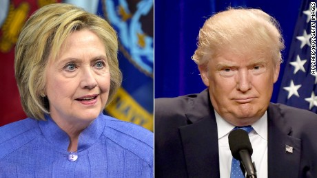 This combination of file photos shows Democratic presidential candidate Hillary Clinton(L)on June 15, 2016 and presumptive Republican presidential nominee Donald Trump on June 13, 2016.  / AFP / dsk        (Photo credit should read DSK/AFP/Getty Images)