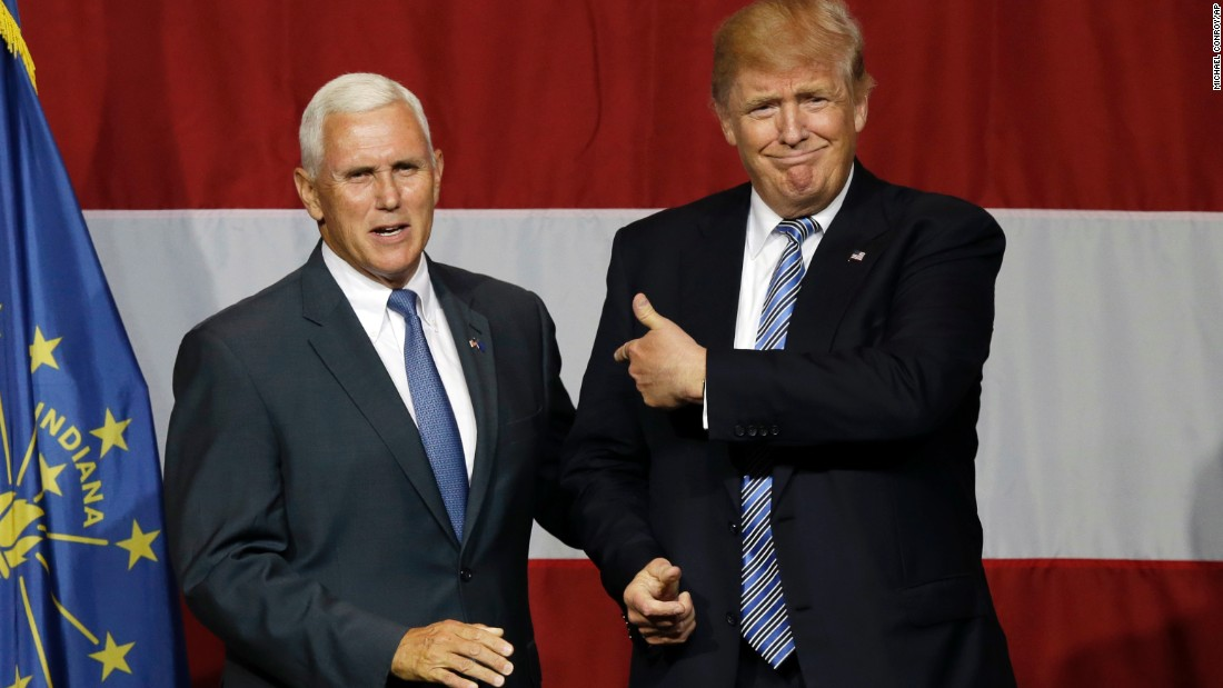 Pence joins 2016 Republican presidential candidate Donald Trump at a rally  in Westfield, Indiana,