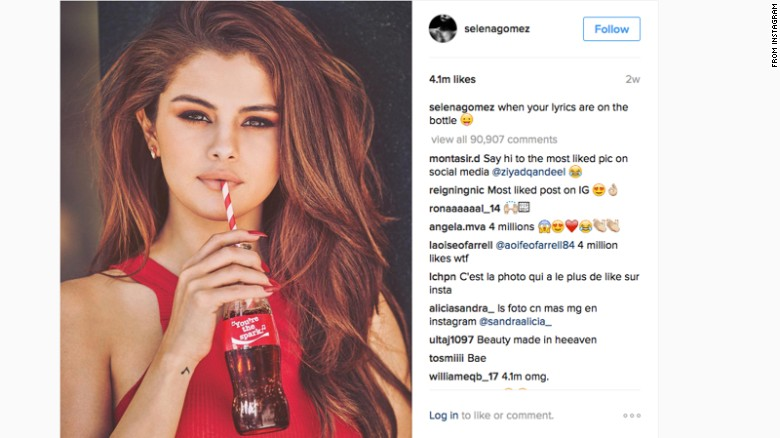 Selena gomez reigning queen of instagram cnn this instagram post of selena gomez sipping a coke has more than 5 million likes altavistaventures Image collections