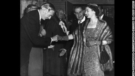 The Queen shaking hands with the Conservative British Prime Minister, Sir Anthony Eden, in May 1956.