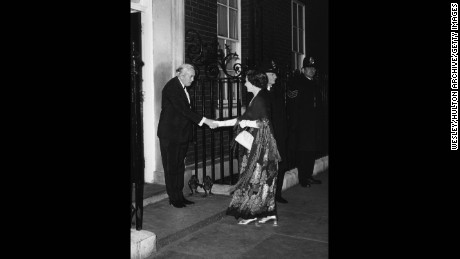 British Prime Minister Harold Wilson shaking hands with the Queen outside 10 Downing Street, following his resignation, London, March 24, 1976.