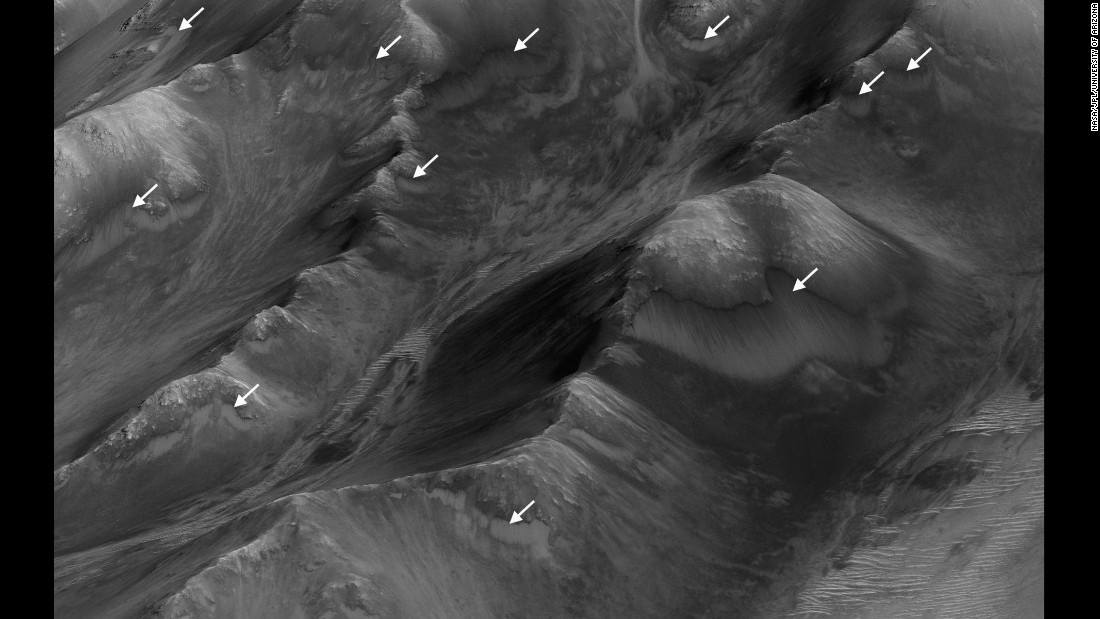 Based on a new study of RSL, the white arrows on this image show the largest concentration of the seasonal streaks in the Coprates Montes area of the canyon.