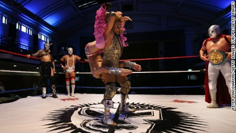 LONDON, ENGLAND - JULY 08:  Mexican and British Lucha Libre wrestlers perform for the cameras at York Hall on July 8, 2015 in London, England. Lucha Libre, which translates as 'free fighting', is a Mexican style of wrestling where fighters enter the ring in flamboyant capes and outlandish suits, performing acrobatic moves and flying from spectacular heights. The three day wrestling festival will take place at York Hall in Bethnal Green from 9th - 11th July 2015.  (Photo by Peter Macdiarmid/Getty Images)