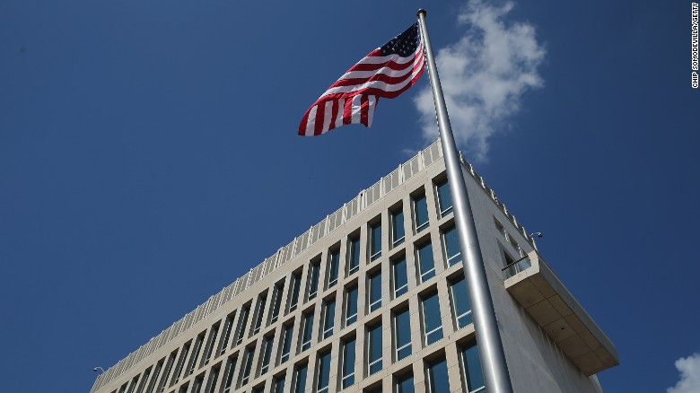 The American flag flies at the U.S. Embassy following a ceremony August 14, 2015, in Havana.