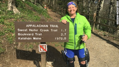 Stacey Kozel hikes with the C-Brace on the Appalachian Trail.
