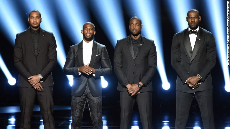 NBA players Carmelo Anthony, Chris Paul, Dwyane Wade and LeBron James speak about the need for athlete activism during the 2016 ESPYS.