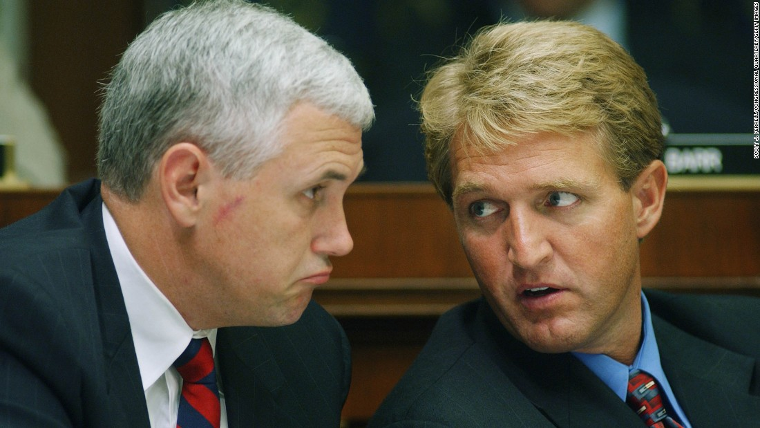 Pence and Republican Arizona Sen. Jeff Flake talk on July 10, 2002, during the markup of the bill which would establish the Department of Homeland Security.