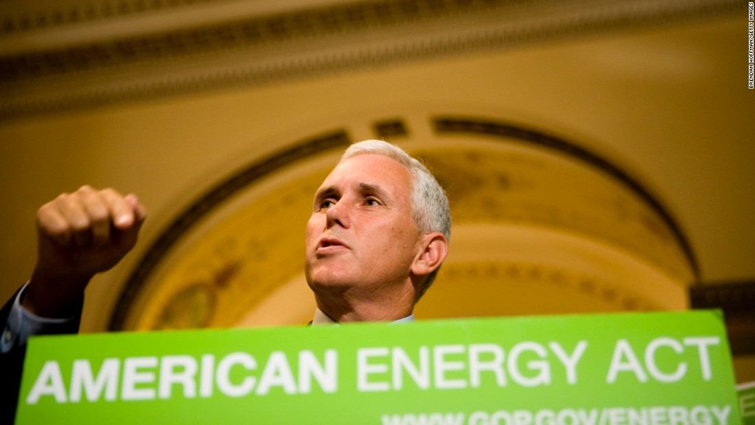 Pence speaks at a news conference on September 5, 2008, in Washington. Pence and other House Republicans called on then-House Speaker Nancy Pelosi to schedule a vote on energy legislation to help lower gasoline prices.