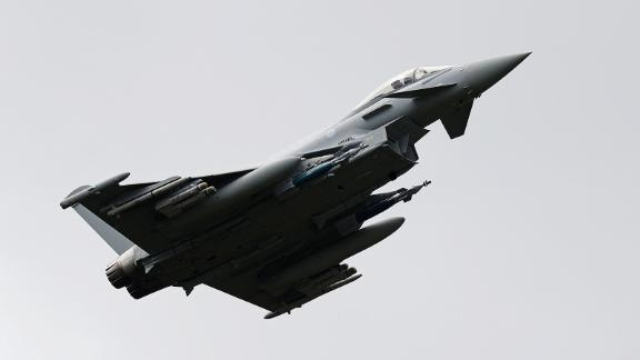 A Eurofighter jet takes part in a flying display in England in 2016.