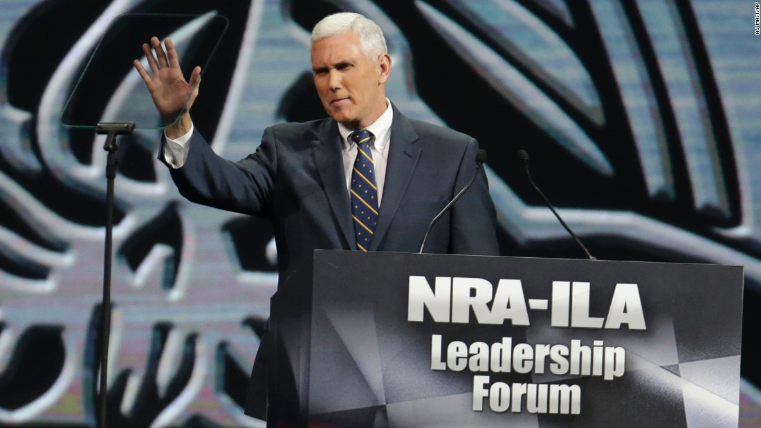 Pence speaks during the leadership forum at the National Rifle Association's annual convention on April 25, 2014, in Indianapolis.