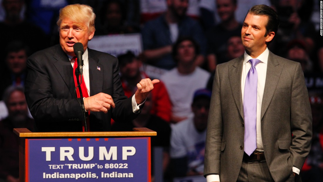 "Presumptive Republican nominee Donald Trump introduces his son Donald Trump Jr. as he addressed a crowd this April in Indianapolis. Trump Jr. has said that if his father becomes president, <a href=""http://www.eenews.net/stories/1060037104"" target=""_blank"">he's interested in being</a> his secretary of the Interior."
