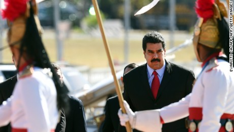 Venezuela's President Nicolas Maduro arrives at Itamaraty Palace to take part in the MERCOSUR Summit of Heads of State and Associated States in Brasilia, Brazil, on July 17, 2015. AFP PHOTO/EVARISTO SA        (Photo credit should read EVARISTO SA/AFP/Getty Images)