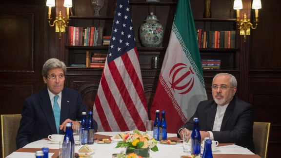 Then-US Secretary of State John Kerry and Iran's Foreign Minister Mohammad Javad Zarif in New York in April 2016.