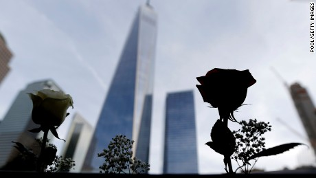 Roses placed by the mother of an architect who died during the Sept. 11 terrorists attacks are erected off his name on the edge of the South Pool at the World Trade Center on September 25, 2015 in New York City.