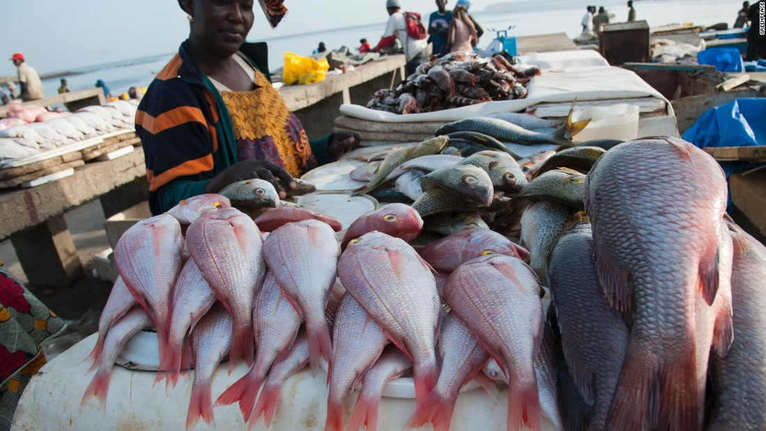 Woman at Soumbedioune fish market, Senegal. West Africa's coastline offers ideal conditions for fishermen, but several issues are holding back a blue economy there.