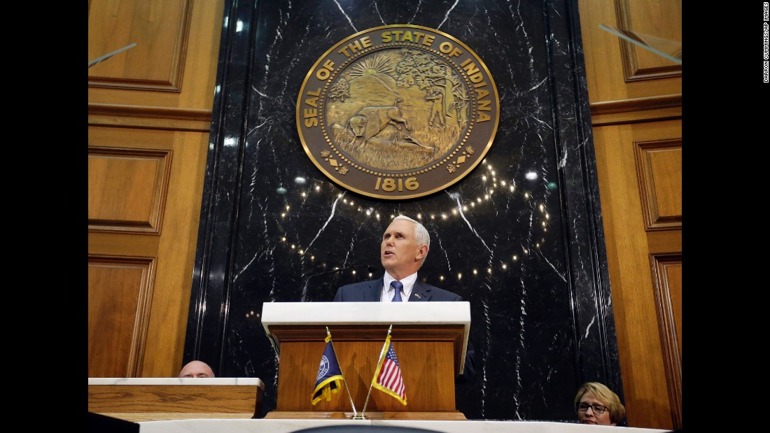 Pence delivers his State of the State address to a joint session of the legislature at the statehouse on January 12, 2016.