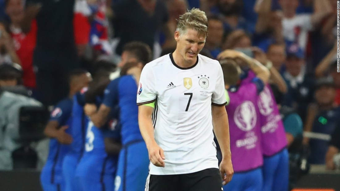 Germany captain Schweinsteiger suffered disappointment in the 2016 European Championship semifinals after his handball gifted France the lead -- the host nation went on to win 2-0.