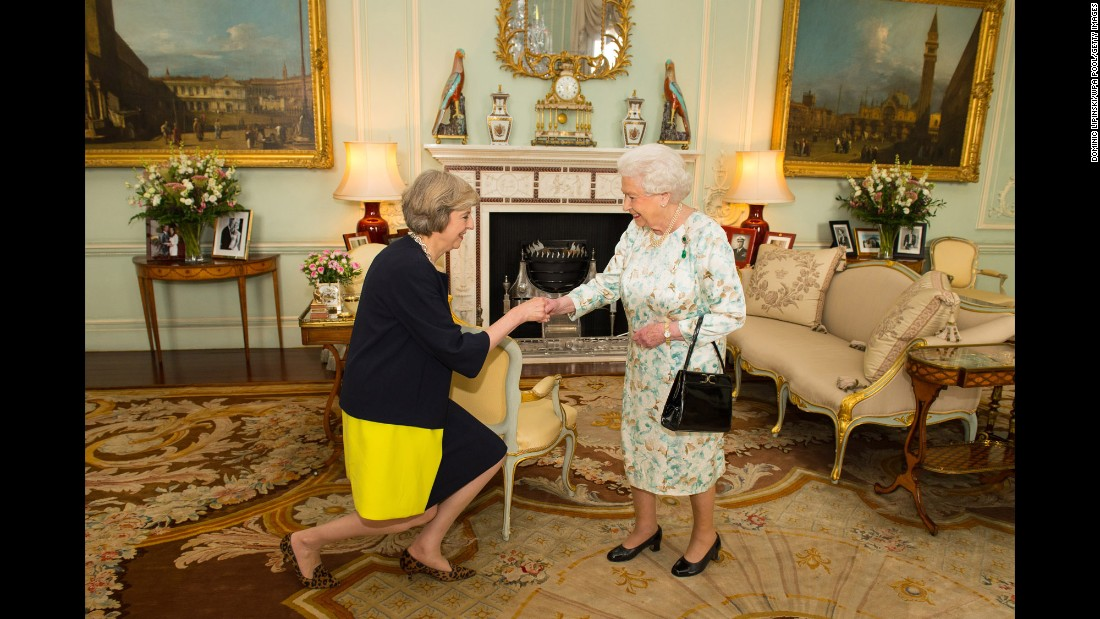 "Queen Elizabeth II welcomes Theresa May, after inviting the former Home Secretary to become Prime Minister and form a new government, at Buckingham Palace in London on Wednesday, July 13. David Cameron resigned from the position after his country's vote to leave the European Union, making May the <a href=""http://www.cnn.com/2016/07/13/europe/theresa-may-david-cameron-british-prime-minister/"" target=""_blank"">United Kingdom's second female Prime Minister</a>."