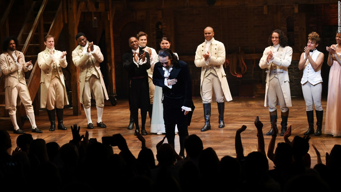 """Hamilton"" creator Lin-Manuel Miranda, center, <a href=""http://money.cnn.com/2016/07/09/media/hamilton-lin-manuel-miranda-last-show/"" target=""_blank"">takes his final curtain call</a> as star after a performance in New York on Saturday, July 9. ""Hamilton"" won 11 awards at this year's Tony Awards, a Pulitzer Prize and a Grammy."