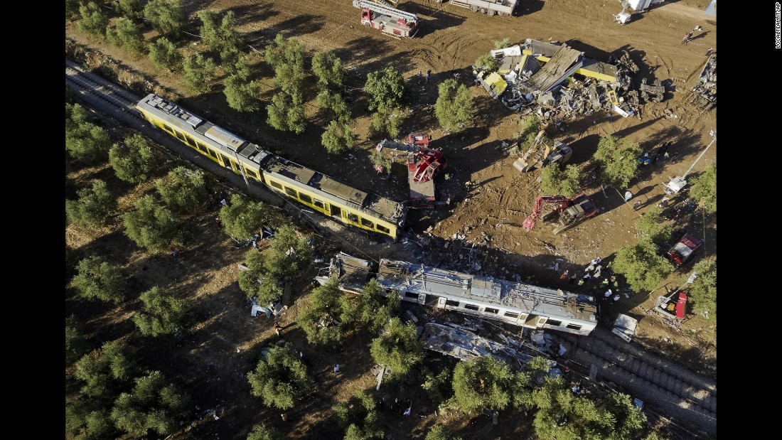 Wreckage is seen on Wednesday, July 13, the day after a head-on collision between two trains near Andria, in the southern Italian region of Puglia.