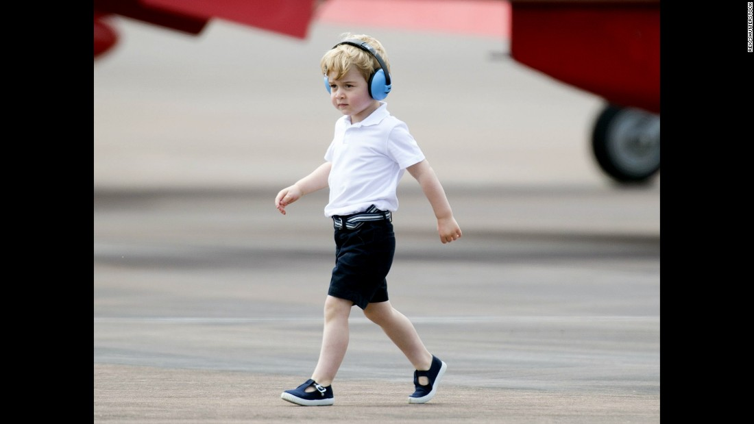 Britain's Prince George attends the Royal International Air Tattoo, the world's largest military airshow, in Fairford, England, on Friday, July 8.