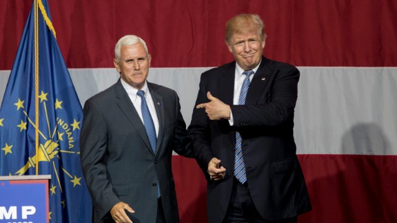 Republican presidential candidate Donald Trump greets Indiana Gov. Mike Pence at the Grand Park Events Center on July 12, 2016 in Westfield, Indiana. Trump is campaigning amid speculation he may select Indiana Gov. Mike Pence as his running mate.