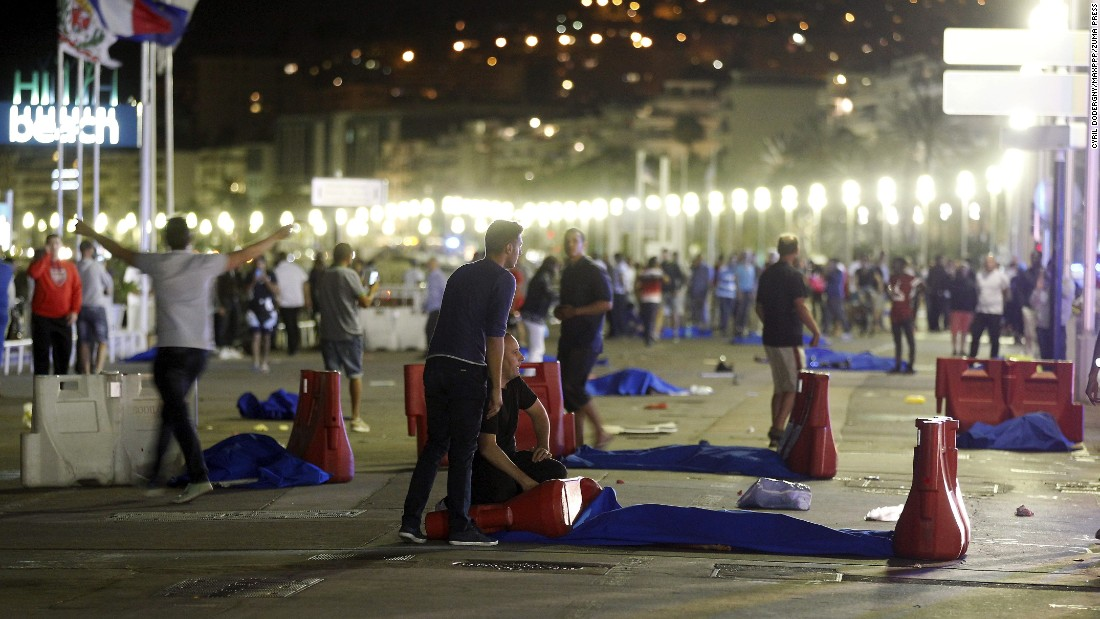 "The scene of a Bastille Day celebration in Nice, France, is seen on Thursday, July 14, <a href=""http://www.cnn.com/2016/07/14/europe/nice-france-truck/index.html"" target=""_blank"">after a truck ran into a crowd</a>. Dozens of people were killed or injured."