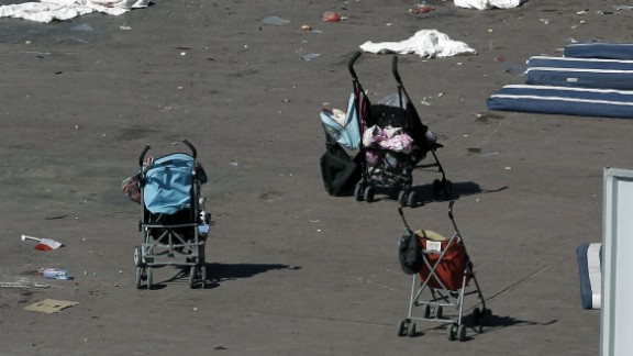 Baby strollers are seen on the Promenade des Anglais in Nice, France, on Friday, July 15. A 31-year-old native of Tunisia and resident of Nice drove into a crowd during the southern French city