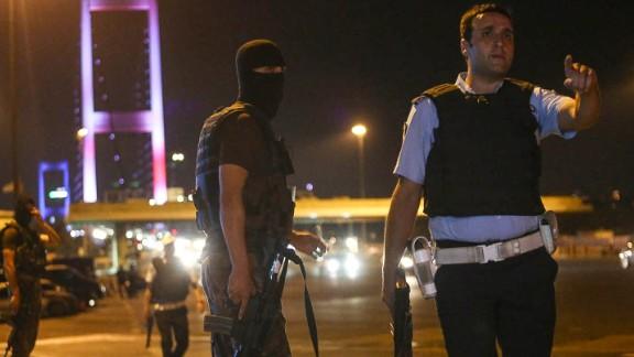 Turkish soldiers block Istanbul's Bosphorus Bridge.