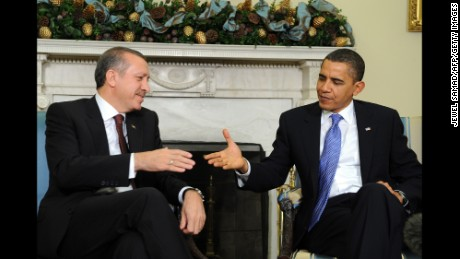 US President Barack Obama shakes hands with Turkish Prime Minister Recep Tayyip Erdogan during a meeting at the White House on December 7, 2009.