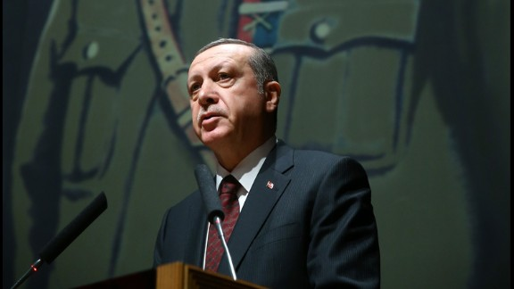 Erdogan delivers a speech during his visit to the Turkish War Colleges Command in Istanbul on Monday, March 28.