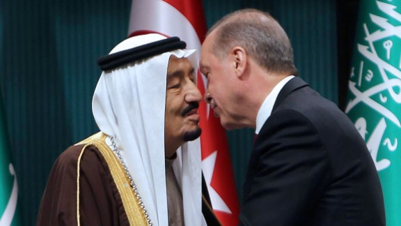 Erdogan, right, shakes hands with King Salman of Saudi Arabia after the Saudi monarch received Turkey