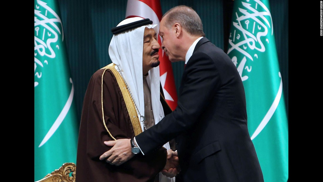 Erdogan, right, shakes hands with King Salman of Saudi Arabia after the Saudi monarch received Turkey's highest state medal during a ceremony at the presidential complex in Ankara, Turkey, on Tuesday, April 12.