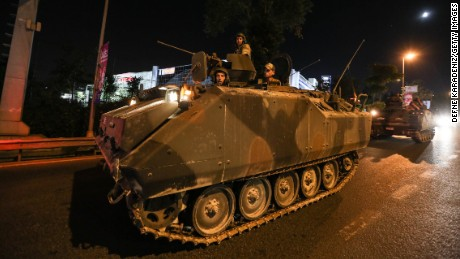 Turkish Armys APC's move in the main streets on July 15, 2016 in Istanbul, Turkey. Istanbul's bridges across the Bosphorus, the strait separating the European and Asian sides of the city, have been closed to traffic. Reports have suggested that a group within Turkey's military have attempted to overthrow the government. Security forces have been called in as Turkey's Prime Minister Binali Yildirim denounced an 'illegal action' by a military 'group', with bridges closed in Istanbul and aircraft flying low over the capital of Ankara.